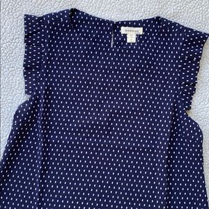 NWT Monteau Navy Top Blouse, Size large